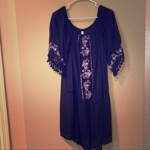 Black floral 3/4 sleeve dress